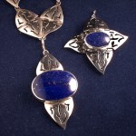 Handcrafted necklace and bracelet with interchangable lapis pendants